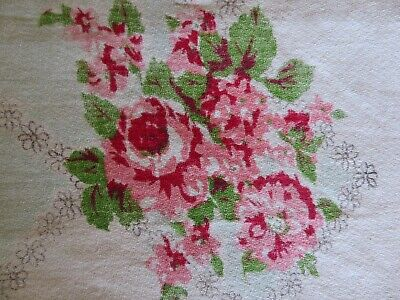 Most Beautiful Vintage 1940's Tablecloth PINK ROSES & BABY BLUE on Crisp White