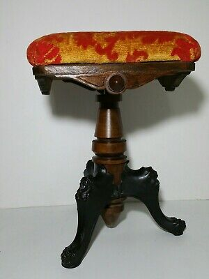 Antique Cast Iron Piano Stool Ice Cream Twist Legs Velvet Seat In Short Supply Benches & Stools