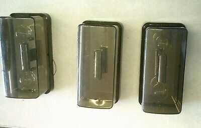 Set of 3 Vintage Mid Century LITE TREND Smoked Plastic Cover Wall Light Fixtures