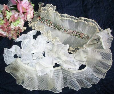 Antique/Vintage Lot Of Pleated/Ruched/Lace Dress Trims/Lengths/Edgings~Dolls