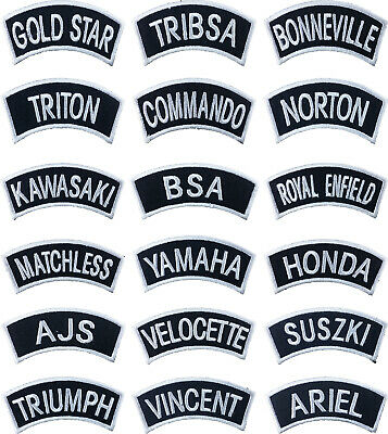silver Traditional Motorcycle Shoulder Title Patches Badges SewIron on