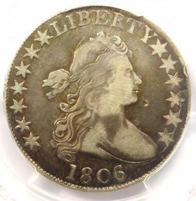 1806/5 Draped Bust Half Dollar 50C Coin Large Stars - Certified PCGS VF Details!