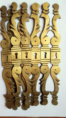 One Pair Of Antique French Reclaimed Brass Door Escutcheon Key Hole Finger Plate