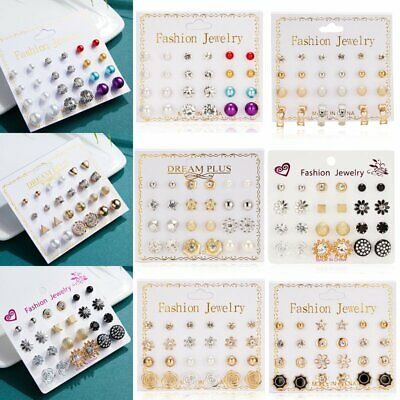 12pairs Pearl Crystal Rhinestone Tassel Earrings Set Ear Stud Drop Chic Party