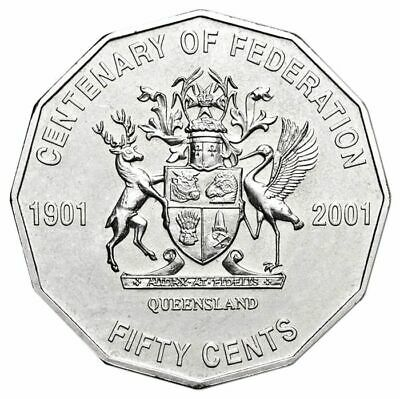 2001 Circulated 50c Fifty Cent Australian Coin Centenary of Federation - QLD