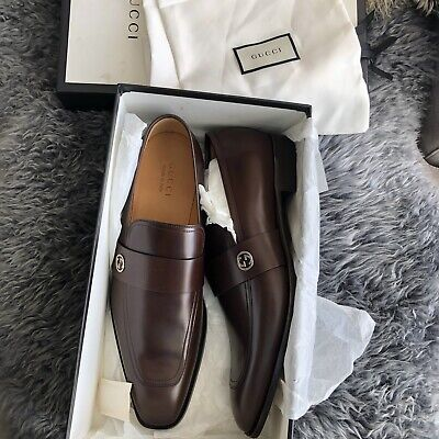 141f3d46d $695 NEW Gucci Men's Broadwick Double 'G' Slip on Leather Loafers Sz 13 UK