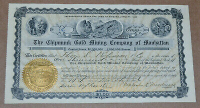 The Chipmunk Gold Mining Company of Manhattan 1906 antique stock certificate