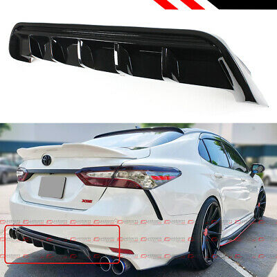 For 2018-2019 Toyota Camry SE XSE GT Shark Fin Glossy Black Rear Bumper Diffuser