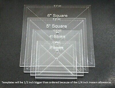 Acrylic Square Quilting Template (Choice of Sizes)