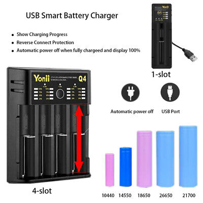 Universal 4 Slot 18650 Battery Charger USB Smart Charger for Li-ion/NiMH Battery