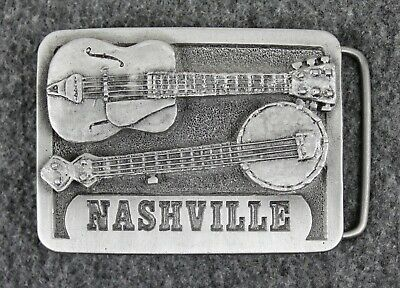 Vintage 70's 1979 Nashville Tennessee Guitar Banjo Music Spec-Cast Belt Buckle