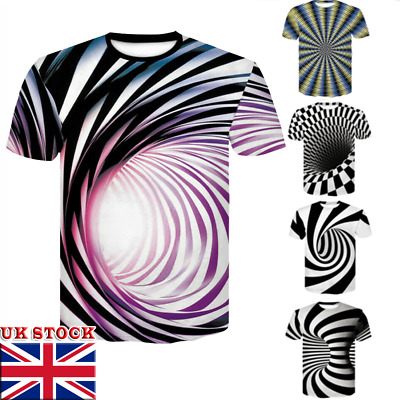 Fashion 3D Hypnosis Swirl Print Mens Womens Casual T-Shirt Short Sleeve Tee Top