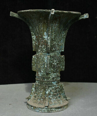 "12"" Collect Old Chinese Bronze Ware Dynasty Palace Beast Face Drinking Vessel"