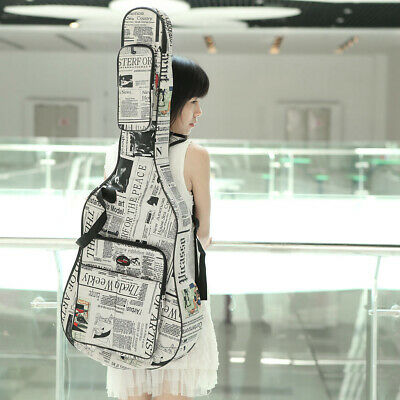 """Newspaper Style Padded Straps Gig Bag Guitar Carrying Case for 40"""" Acoustic Y0L6"""