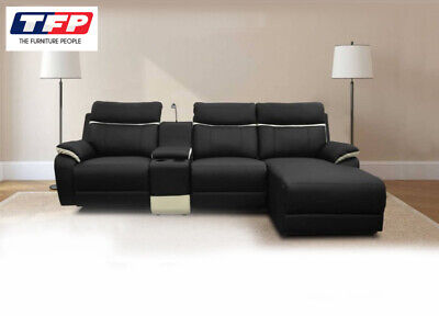 Black Leather 3 Seater Modular Electric Recliner Sofa Lounge Couch