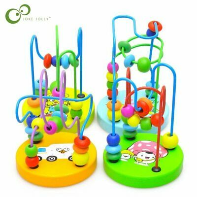 Mini Wooden Baby Math Toys Kids Counting Circles Bead Abacus Wire Maze Roller Co