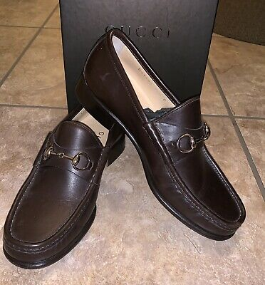 13e48a676969c Gucci Womens Loafers brown w/gold color metal horsebit accent. Size 36.5 C  WIDE