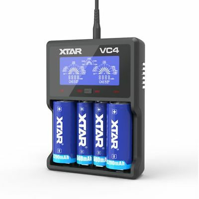 XTAR VC4 4-Slot Smart LCD USB Battery Charger 14650 18650 AA AAA C Li-ion Ni-MH