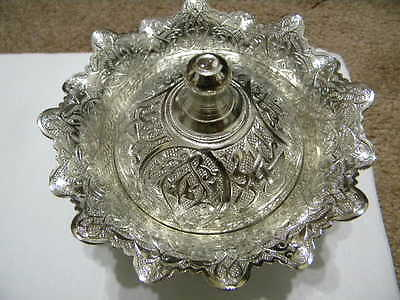 Silver Plate Ottoman Antique Design  Copper Insert Candy Dish ( Collection )