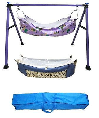Baby Cradle,Cote,Swing fully folding purple color with two pc of cotton hammock.