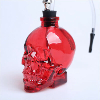 Skull Shape 3.4''H Glass Bong Water Smoking Hookah  Bubbler Pipes Red