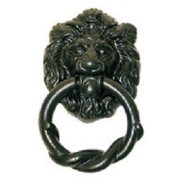 PERRY 90mm Solid Brass Black Finish Antique Lion door Knocker With Fixings D7