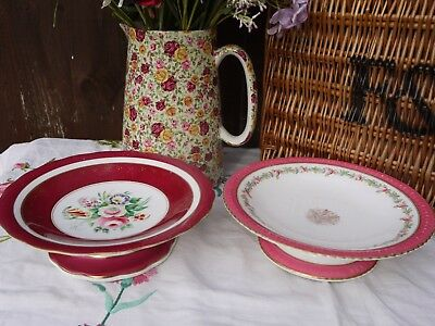 Vintage hand painted pedestal tazza cake stands