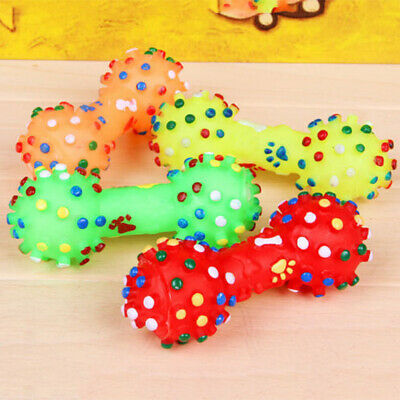 Pet Dog Puppy Cat Chews Toy Rubber Bone Shape Squeaker Squeaky Sound Play Toys