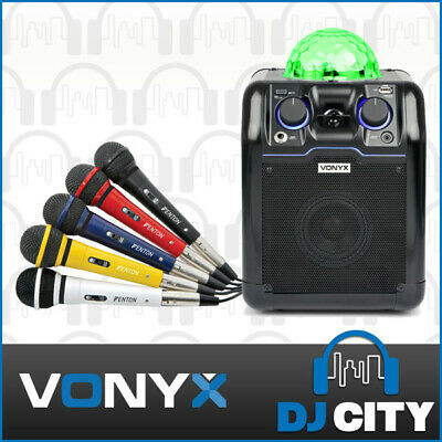 Karaoke Speaker System Bluetooth Re-chargeable Party PA w/ Mic + LED Light Show