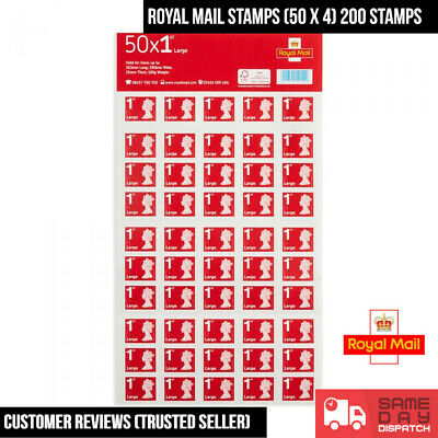 Royal Mail First Class Large Letter Self Adhesive Stamp Sheet 200 (50 X 4)