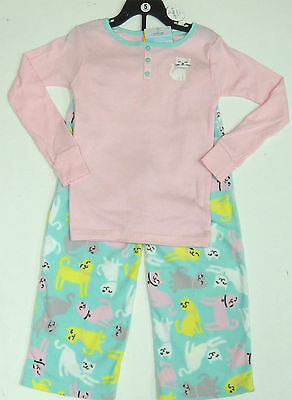 Carter's Girls 2 Pce Cat Pyjamas Set Pink Top, Mint Fleecy Bottoms 4 Years BNWT