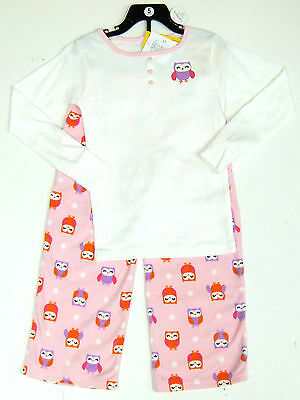 Carter's Girls 2 Pce Owl Pyjamas Set White Top, Pink Fleecy Bottoms 4 Years BNWT