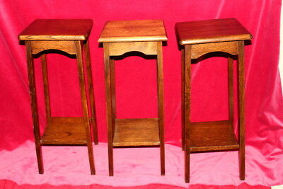 3 Antique French Vintage Oak Handmade Wooden Small Table For Plant Or Lamp Sale