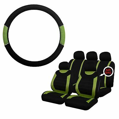 Green & Black Steering Wheel & Seat Cover set for Fiat Doblo All Years