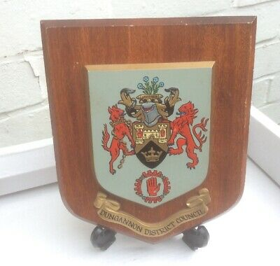 Vintage Hand Painted Northern Ireland Wall Plaque -Dungannon District Council