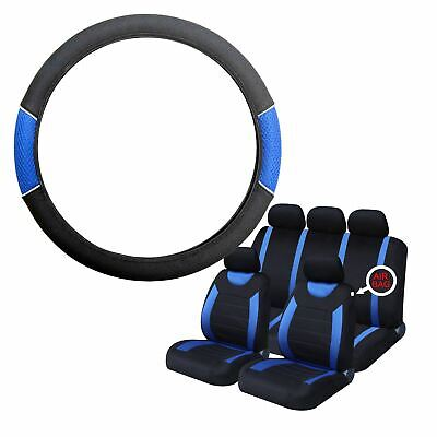 Blue & Black Steering Wheel & Seat Cover set for Ford Fiesta 14-On
