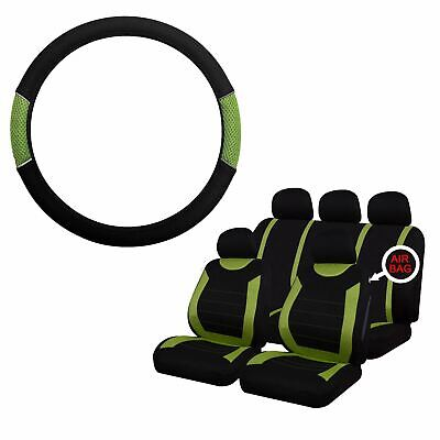 Green & Black Steering Wheel & Seat Cover set for Ford Fusion 02-12