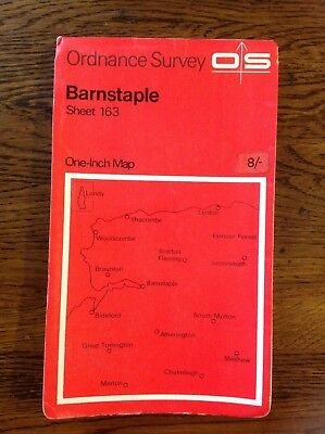 Vintage 1967 Ordinance Survey One Inch Map of Barnstaple Sheet 163