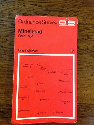 Vintage 1967 Ordinance Survey One Inch Map of Minehead Sheet 164