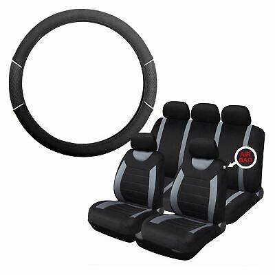 Grey & Black Steering Wheel & Seat Cover set for Mini Hatchback All Years
