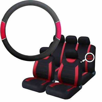 Red & Black Steering Wheel & Seat Cover set for Peugeot 207 Sw 07-On