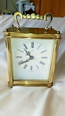 Vintage 1970 Smiths Brass Carriage Mantel Battery Clock faulty