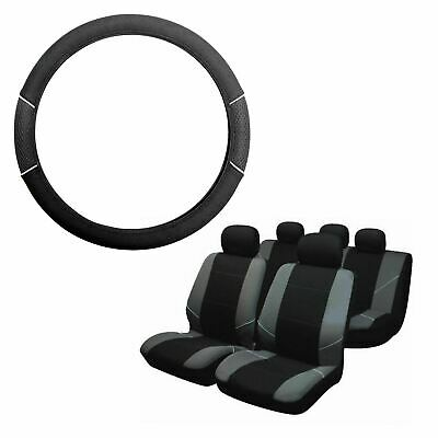 Grey & Black Steering Wheel & Seat Cover set for Ssangyong Kyron