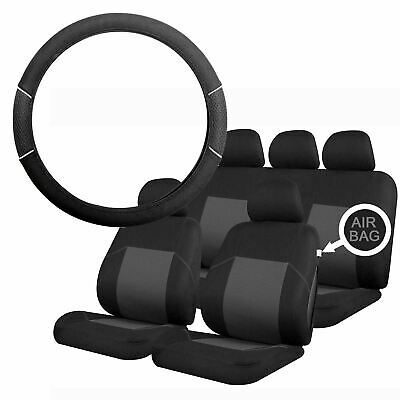 Grey & Black Steering Wheel & Seat Cover set for Ssangyong Actyon