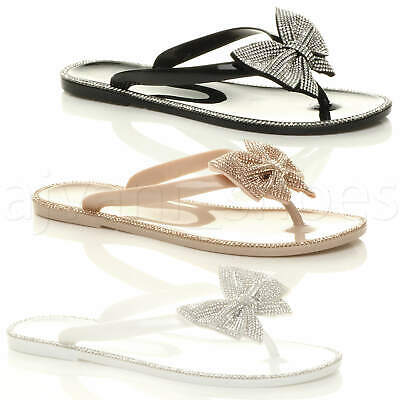 Womens Ladies Flat Jelly Diamante Bow Summer Flip Flops Toe Post Sandals Size