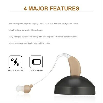 Rechargeable Hearing Aids Sound Voice Amplifier Behind The Ear EU Plug EI