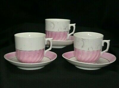 Set of 3 Vintage Cups & Saucers White and Pink with Gold Accent Raised Swirl Rib