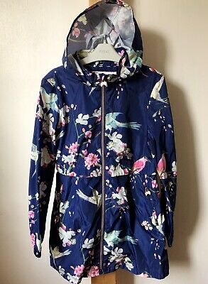 Girls Ted Baker Age 12 Years Navy Raincoat Parka Floral Birds Pattern Exc Condit