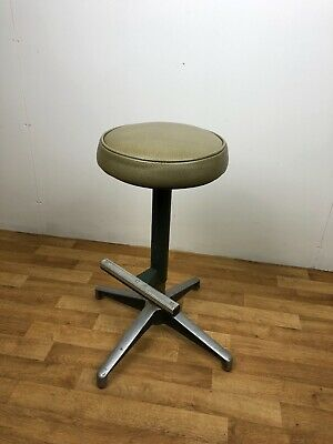 Vintage machinist metal stool with foot rest