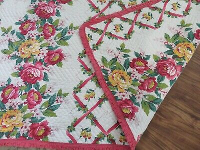 Super Beautiful Vintage Antique Quilt ROSES w/ Ruffle Trim Pink on White MUSTSEE